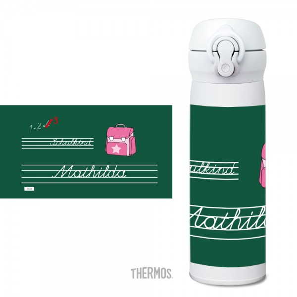 Thermos Isolier -Trinkflasche Schule rosa - personalisierbar