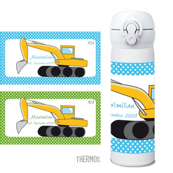Thermos Isolier -Trinkflasche Bagger - personalisierbar