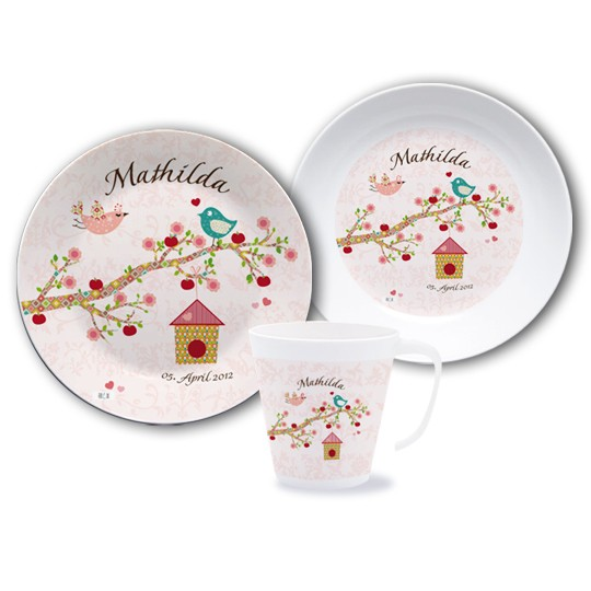 Kinder Geschirr Set mit Namen - Floral Rose