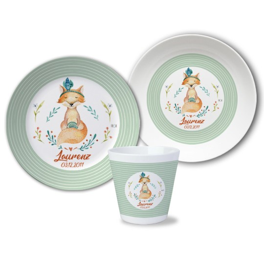 Kinder Set Melamin mit Namen - Fuchs Woodland