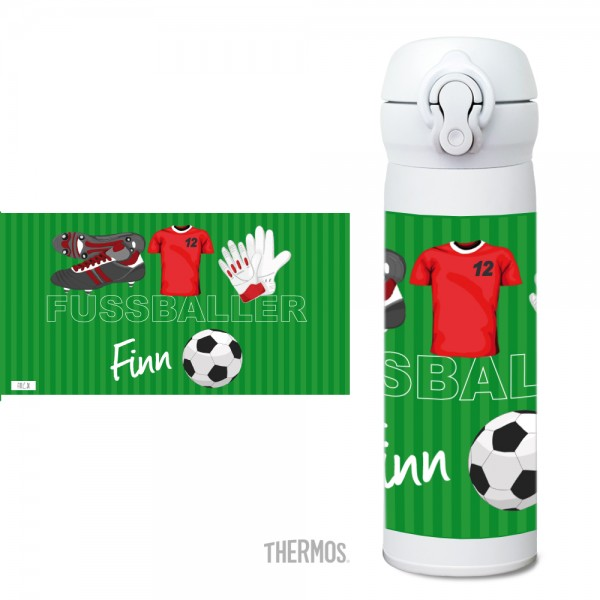 Thermos Isolier -Trinkflasche Fußball rot - personalisierbar