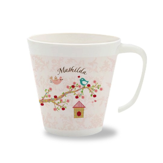 Kinder Melamin Becher mit Namen - Floral rose