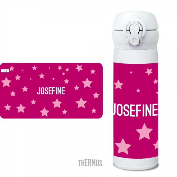 Thermos Isolier -Trinkflasche Sterne pink Muster - personalisierbar