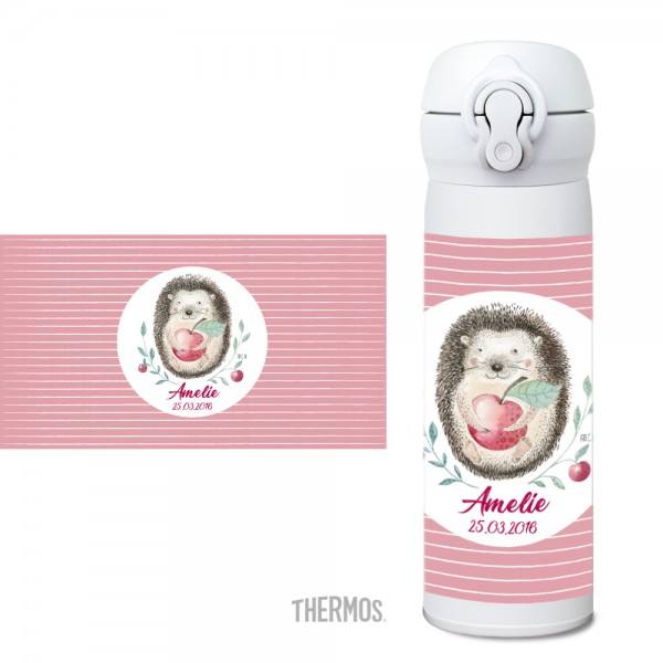 Igel Thermos Isolier -Trinkflasche personalisierbar - Woodland