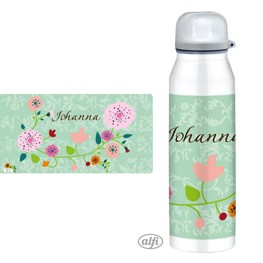 Alfi Isolier-Trinkflasche Floral mint - personalisierbar
