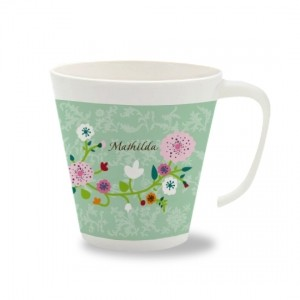 Kinder Melamin Becher mit Namen - Floral mint