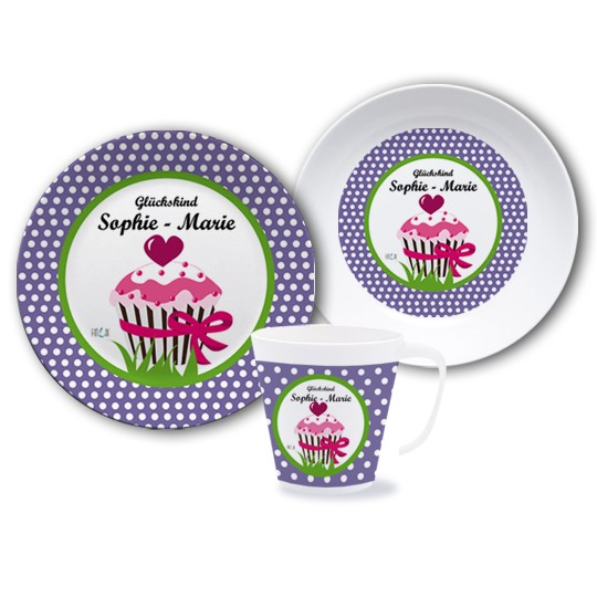 Melamin Kindergeschirr Set - Muffin