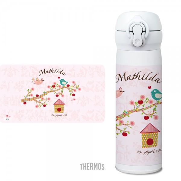 Thermos Isolier -Trinkflasche Floral rose - personalisierbar
