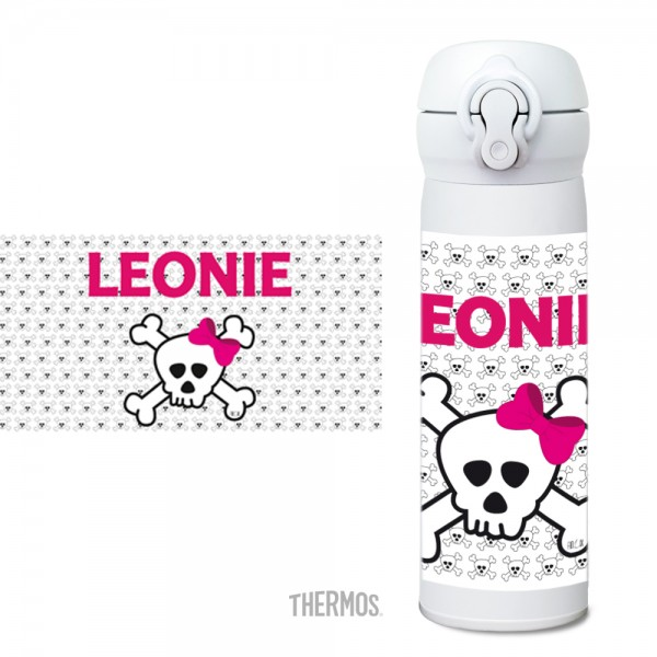 Thermos Isolier -Trinkflasche Totenkopf pink Muster - personalisierb