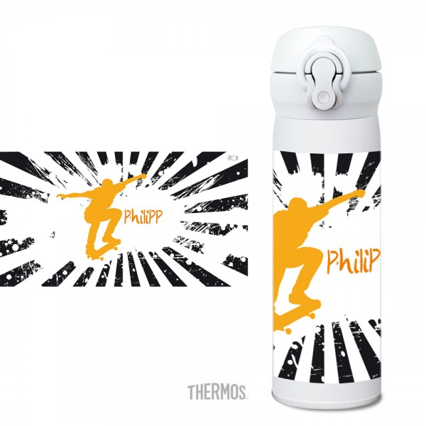 Thermos Isolier -Trinkflasche personalisierbar - Skater