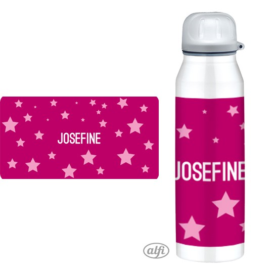 Alfi Isolier-Trinkflasche Sterne pink Muster - personalisierbar