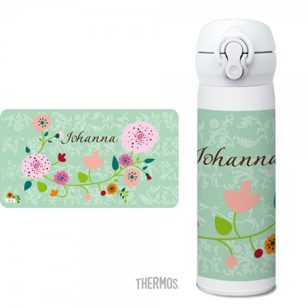 Thermos Isolier -Trinkflasche Floral mint - personalisierbar
