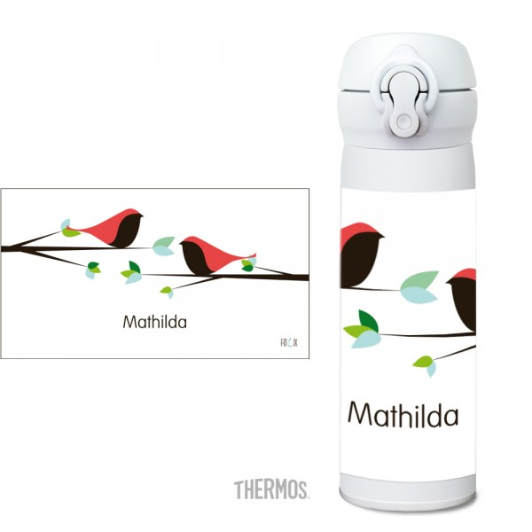 Thermos Isoliertrinkflasche Vögel personalisierbar - Nature
