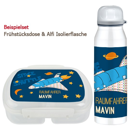 Set Brotdose und Trinkflasche- Spaceshuttle