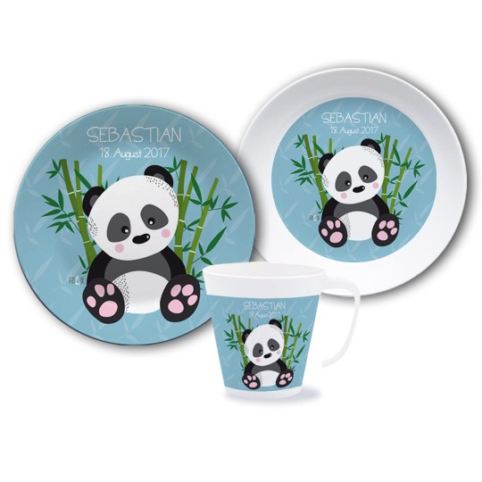 Kinder Set Melamin mit Namen - Panda